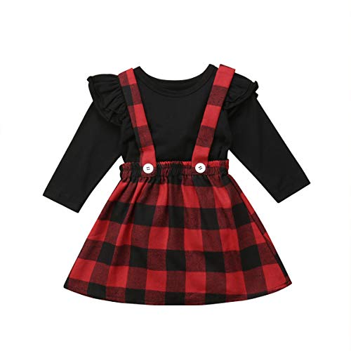 Toddler Baby Girl Infant Plain T Shirts Plaid Overall Skirt Set Cotton Outfits (Black+Red, 6-12 Months)