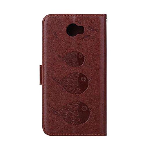 Huawei Brown cuir Embossing Bird Y5 et étui en embouts Wllet 2ème Pattern de avec revêtement II PU Color pour détachable cartes Flip génération Étui caleçon avec Rosegold nfqqHdIxFw