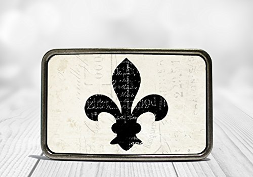 Belt De Lis Fleur White Buckle - Black and White Fleur de Lis Belt Buckle