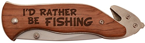 (Personalized Gifts Fisherman Gift I'd Rather Be Fishing Tackle Laser Engraved Stainless Steel Folding Survival)