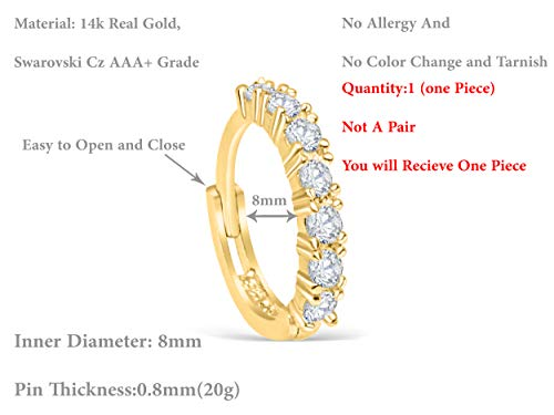 14K Solid Gold Jewelry Cz 8mm Open Round Circle Tragus Cartilage Snug Rook Daith Helix Ear Segment Clicker Hoop Ring Piercing Earring For Women by ONDAISY (Image #2)