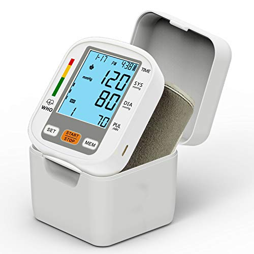 Automatic Wrist Blood Pressure Cuff Monitor Mosafe Digital BP Machine with Backlight Large LCD Display and Adjustable Wrist Cuff – 99 * 2 Reading Memory