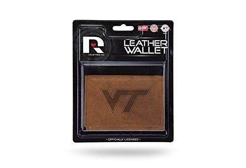 ech Hokies Leather Trifold Wallet with Man Made Interior (Tech Tri Fold)