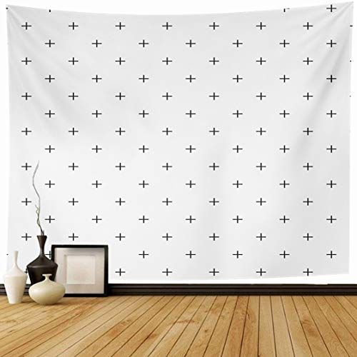 - Ahawoso Tapestry Wall Hanging 60x50 Geometric Simple Pattern Made Plus Subtle White Black Monochrome Graphic Row Home Decor Tapestries Decorative Bedroom Living Room Dorm