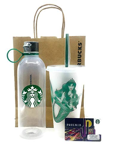 5e89f32a411 Starbucks Water Bottle Clear Plastic 24oz BPA Free and Starbucks Reusable  Limited Edition Siren Mermaid Frosted