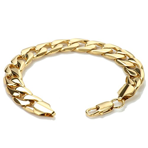 Diamond Cut Heart Link Bracelet - Diamond cut Cuban Link Chain Bracelets for Men 9MM and real 24K Gold Plated USA Made!(8)