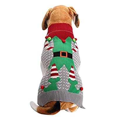 Scheppend Festive Pet Pullover Ugly Christmas Holiday Jumpers Clown Sweater for Small Dogs Cats