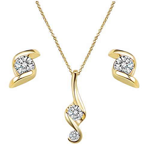 Lavencious Music Note Symbol Pendant Round CZ Stud Thin Chain Necklace with Earrings Set for Women & Girls (Gold)