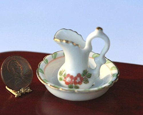 artisan hand made Dollhouse Miniature Washbasin and Pitcher with Green & Pink Design