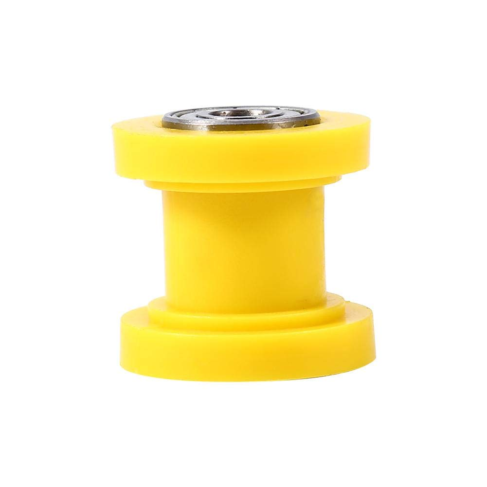 Universal Pulley Tensioner Chain Roller, 10mm Chain Roller Slider Tensioner Wheel Guide for Motorcycle Pit Dirt Mini Bike Atv(Yellow)