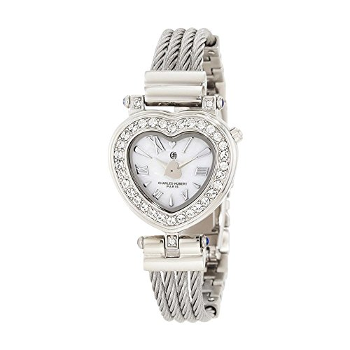 Stnlss Stl Wire Bangle White Mop Heart Dial Watch by Charles Hubert Paris Watches, Free Gift Box ()