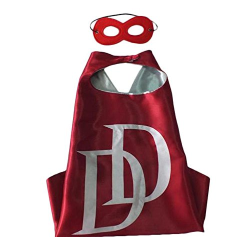Over 35+ Styles Superhero Halloween Party Cape and Mask Set for Kids (Daredevil)