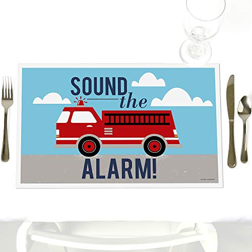 (Fired Up Fire Truck - Party Table Decorations - Firefighter Firetruck Baby Shower or Birthday Party Placemats - Set of)