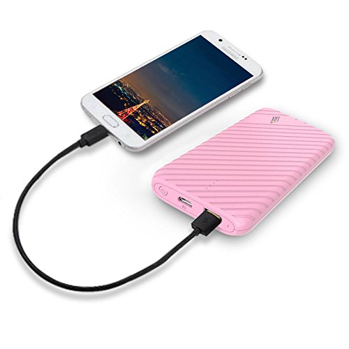 Ultra-Compact Portable Power Bank, LAX 4000mAh External Battery Pack Charger USB Output for iPhone, Samsung Galaxy and More (Pink)