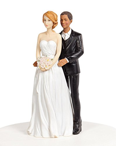 Chic Interracial Wedding Cake Topper - Caucasian Bride/African American Groom (African Wedding Cake American Topper)