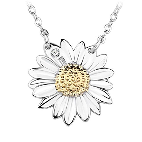 Winuxury Women's 925 Sterling Silver Sunflower Pendant Necklace Crystal Fashionable Statement (Sunflower Costume For Women)