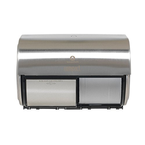Compact 2-Roll Side-by-Side Coreless High-Capacity Toilet Paper Dispenser by GP PRO (Georgia-Pacific), Stainless, 56798, 10.120