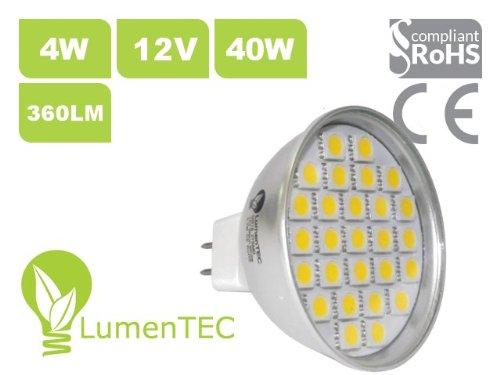GU5.3 MR16 27 5050 SMD Bombilla LED 230V Luz Blanco Frío 12V 3,7W=45W 320 lumen Hogar Oficina: Amazon.es: Iluminación