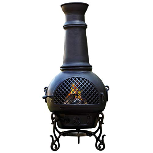 The Blue Rooster CAST ALUMINUM Gatsby Chiminea with Gas and a 10' hose in Charcoal. Also comes with a free year round cover.