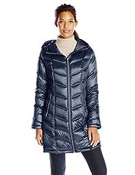 Calvin Klein Women\'s Mid-Length Packable Chevron Down Coat, Shine Dark Indigo, X-Small
