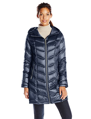(Calvin Klein Women's Mid-Length Packable Chevron Down Coat, Shine Dark Indigo Medium)