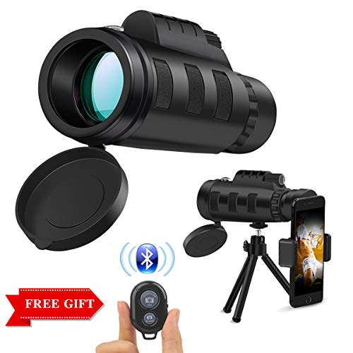 Monocular Telescope,12x50 HD Low Night Vision Waterproof High Power Prism Monocular Quick Smartphone Holder & Wireless Camera Shutter Remote Control Bird Watching Hunting Camping Travelling by COOXER