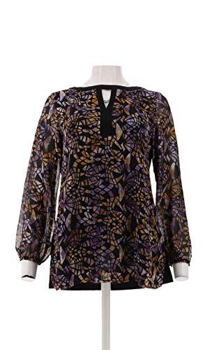 - Susan Graver Printed Woven Tunic Liquid Knit Back Purple XS New A282918