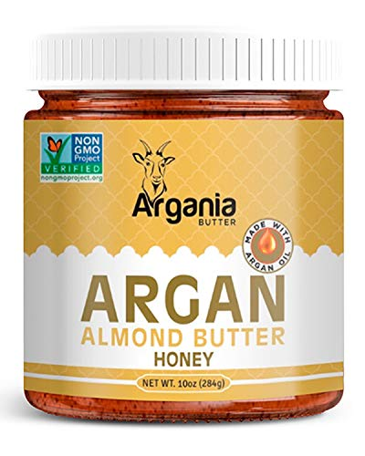 (Argania Butter Honey Almond Butter With Superfood Organic Edible Argan Oil - No Gluten , Kosher, Non GMO, No Palm Oil, No Dairy, No Peanuts, Keto Friendly, Low Carb. 10 Ounces)