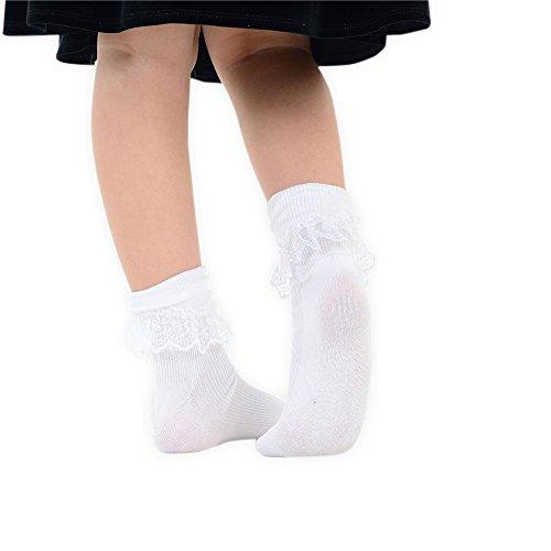 Froufrous Dentelle Pour amp; Et Adam Filles Eesa Pair À White Blanc Avec Socquettes 1 Rose Nœud xfzqwzSC