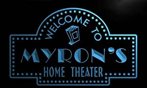 ph384-b Myron's Home Theater Popcorn Bar Beer Neon Light Sign