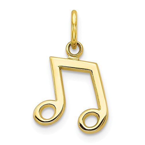 10k Solid Yellow Gold Musical Note Charm (16mm x (Solid Yellow Gold Musical Notes)