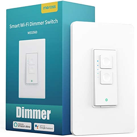 Smart Dimmer Switch Single Pole – meross Smart WiFi Light Switch for Dimmable LED, Compatible with Alexa Google Assistant, Neutral Wire Required, Remote Control Schedule, No Hub Needed,1 Pack