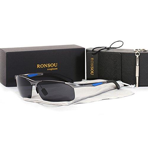 Ronsou Men's Sport Aluminium-Magnesium Polarized Sunglasses For Driving Cycling Fishing Golf Glasses gray frame/gray - Fake Glasses Target Reading