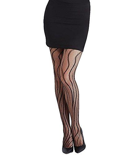 Hue Women's Tiger Net Tights M/L Black (Pantyhose Tiger Print)