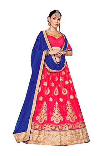 Mrsindia Womens Pink Striking Lehenga Choli With Embroidery Lace Work 80380 80380