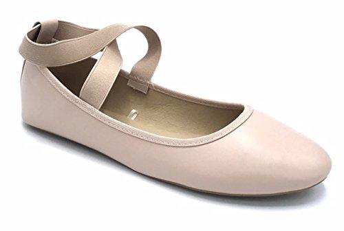 Vesto Damen Flats mit elastischen Knöchelriemen Erröten