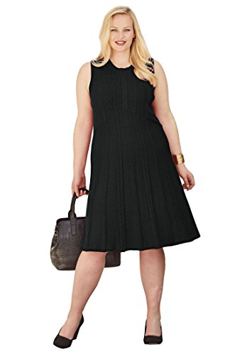 Jessica London Women's Plus Size Fit & Flare Sweater Dress Black,22/24 (Jessica London Sweater Dress)