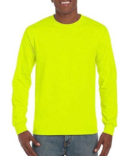 Gildan Men's Ultra Cotton Jersey Long Sleeve Tee, Safety Green, ()