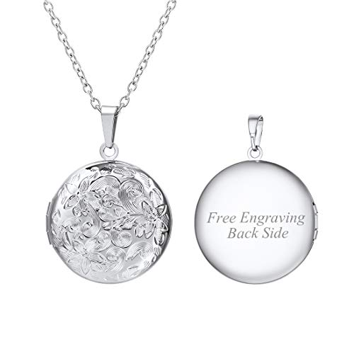 U7 Blooming Flower Round Locket Pendant Necklace for Women Girls Stainless Steel Chain Photo Charm Necklace, with Custom Engrave