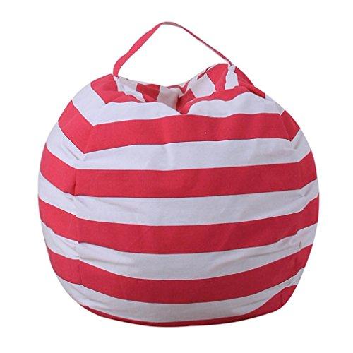 Price comparison product image Matoen® 1Pcs Storage Bag, Kids Stuffed Animal Plush Toy Storage Bean Bag Soft Stripe Fabric Chair Pouch (Red)