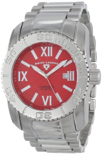 Swiss Legend Men's 10059-55 Commander Red Textured Dial Stainless Steel Watch