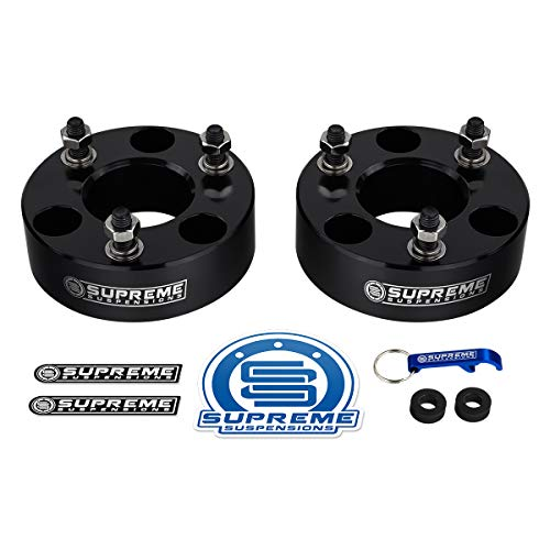 "Supreme Suspensions - Front Leveling Kit for Dodge: 2006-2019 Ram 1500 4WD and 2005-2011 Dakota 2WD 2"" Front Lift Billet Aluminum Strut Spacers (Black)"