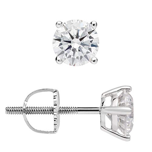 14K Solid White Gold Stud Earrings | Round Cut Cubic Zirconia | Screw Back Posts | 1.0 CTW | With Gift Box ()