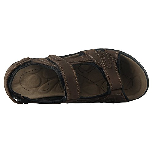 SODIAL(R) sandale homme Cuir sandales hommes taille 46 marron cuir Chaussures