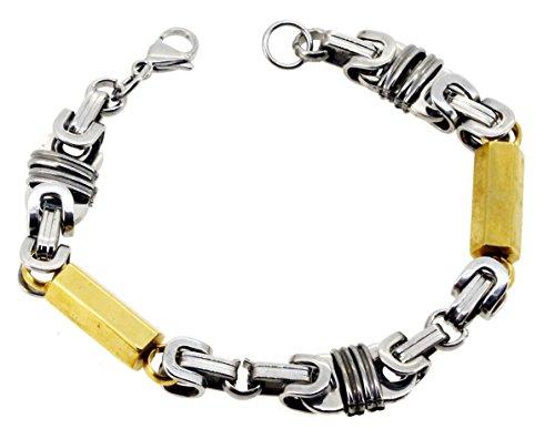 Mens Gold Tone Hexagonal Column Link Stainless Steel Bracelet, 8.5 Inches - Hexagonal Column
