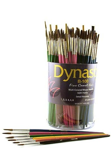 DYNASTY B-100 Fine Camel Hair Round Brush Canister canister of 144