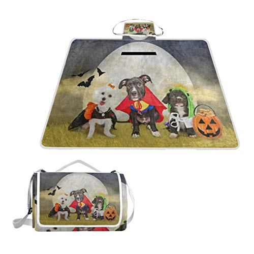 FunnyCustom Picnic Blanket Hipster Puppy Dog Dressed in Halloween Costumes Outdoor Blanket Portable Moisture Proof Picnic Mat for Beach Camping]()