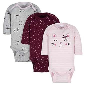 Gerber Baby-Girls 3-Pack Long-Sleeve Onesies Bodysuit Footie - Pink - Newborn