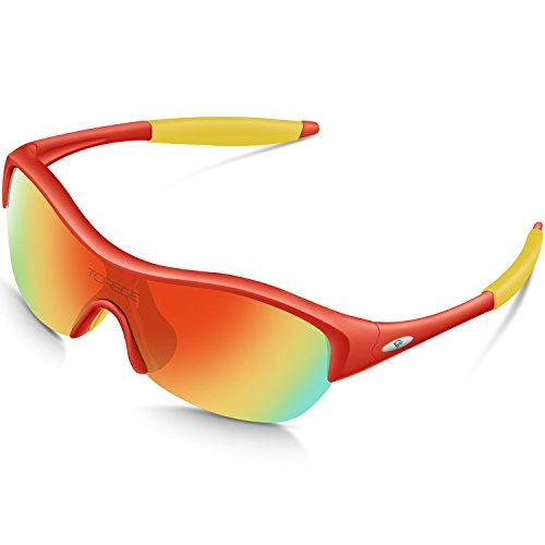 TOREGE Tr90 Flexible Kids Sports Sunglasses Polarized Glasses for Junior Boys Girls Age 3-12 Trk001 (Red Frame&Yellow Tips&Rainbow Lens)