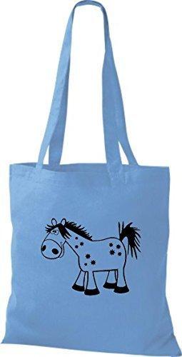 Shirtstown Stoffbeutel Tiere Pferd Pony Hellblau